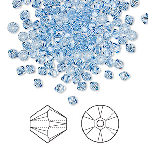bead, swarovski crystals, crystal passions, light sapphire, 3mm xilion bicone (5328). sold per pkg of 144 (1 gross).