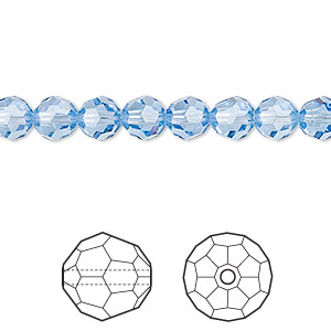 bead, swarovski crystals, crystal passions, light sapphire, 6mm faceted round (5000). sold per pkg of 12.