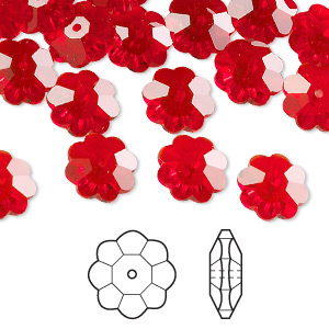 bead, swarovski crystals, crystal passions, light siam, 10x3.5mm faceted marguerite lochrose flower (3700). sold per pkg of 144 (1 gross).