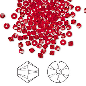 bead, swarovski crystals, crystal passions, light siam, 3mm xilion bicone (5328). sold per pkg of 144 (1 gross).