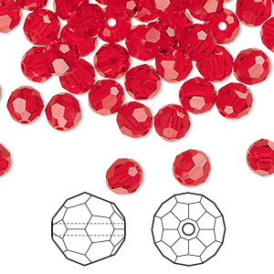 bead, swarovski crystals, crystal passions, light siam, 6mm faceted round (5000). sold per pkg of 144 (1 gross).