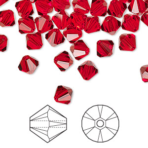 bead, swarovski crystals, crystal passions, light siam, 6mm xilion bicone (5328). sold per pkg of 144 (1 gross).