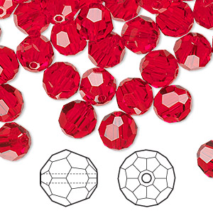 bead, swarovski crystals, crystal passions, light siam, 8mm faceted round (5000). sold per pkg of 144 (1 gross).