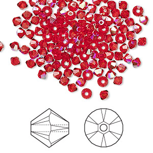 bead, swarovski crystals, crystal passions, light siam ab, 3mm xilion bicone (5328). sold per pkg of 48.