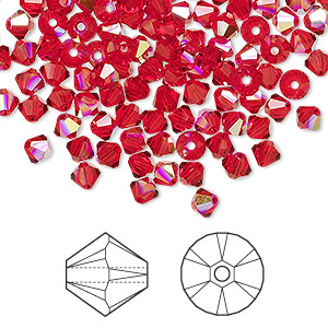 bead, swarovski crystals, crystal passions, light siam ab, 4mm xilion bicone (5328). sold per pkg of 144 (1 gross).