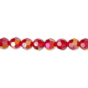 bead, swarovski crystals, crystal passions, light siam astral pink, 6mm faceted round (5000). sold per pkg of 12.