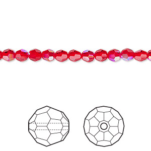 bead, swarovski crystals, crystal passions, light siam shimmer, 4mm faceted round (5000). sold per pkg of 12.