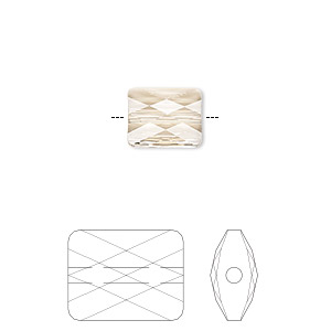 bead, swarovski crystals, crystal passions, light silk, 10x8mm faceted mini rectangle (5055). sold per pkg of 2.