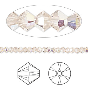 bead, swarovski crystals, crystal passions, light silk ab, 3mm xilion bicone (5328). sold per pkg of 48.