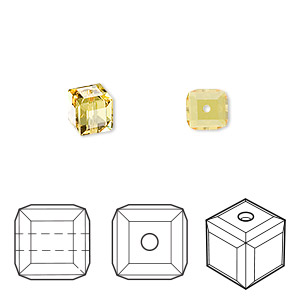 bead, swarovski crystals, crystal passions, light topaz, 6x6mm faceted cube (5601). sold per pkg of 48.