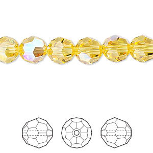 bead, swarovski crystals, crystal passions, light topaz shimmer, 8mm faceted round (5000). sold per pkg of 144 (1 gross).