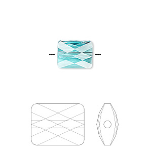 bead, swarovski crystals, crystal passions, light turquoise, 10x8mm faceted mini rectangle (5055). sold per pkg of 2.