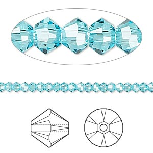 bead, swarovski crystals, crystal passions, light turquoise, 3mm xilion bicone (5328). sold per pkg of 48.