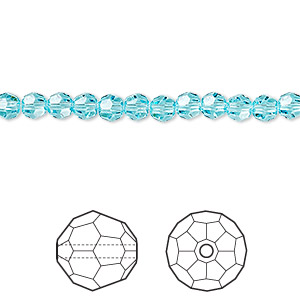 bead, swarovski crystals, crystal passions, light turquoise, 4mm faceted round (5000). sold per pkg of 12.
