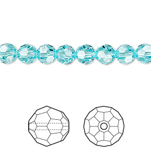bead, swarovski crystals, crystal passions, light turquoise, 6mm faceted round (5000). sold per pkg of 144 (1 gross).