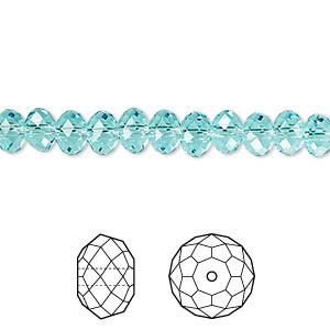 bead, swarovski crystals, crystal passions, light turquoise, 6x4mm faceted rondelle (5040). sold per pkg of 12.