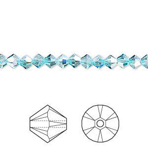 bead, swarovski crystals, crystal passions, light turquoise ab, 4mm xilion bicone (5328). sold per pkg of 48.