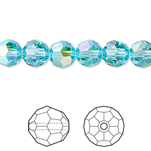 bead, swarovski crystals, crystal passions, light turquoise ab, 8mm faceted round (5000). sold per pkg of 12.