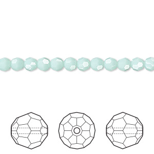 bead, swarovski crystals, crystal passions, mint alabaster, 4mm faceted round (5000). sold per pkg of 144 (1 gross).
