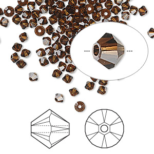 bead, swarovski crystals, crystal passions, mocca, 3mm xilion bicone (5328). sold per pkg of 144 (1 gross).