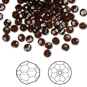 bead, swarovski crystals, crystal passions, mocca, 4mm faceted round (5000). sold per pkg of 144 (1 gross).