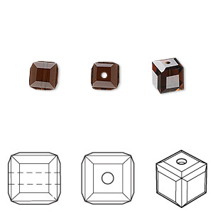 bead, swarovski crystals, crystal passions, mocca, 6x6mm faceted cube (5601). sold per pkg of 48.