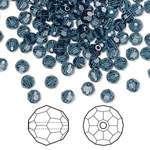 bead, swarovski crystals, crystal passions, montana, 4mm faceted round (5000). sold per pkg of 144 (1 gross).