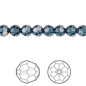 bead, swarovski crystals, crystal passions, montana, 6mm faceted round (5000). sold per pkg of 12.