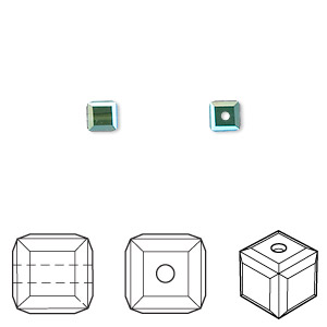 bead, swarovski crystals, crystal passions, montana ab, 4x4mm faceted cube (5601). sold per pkg of 12.