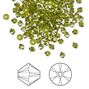 bead, swarovski crystals, crystal passions, olivine, 3mm xilion bicone (5328). sold per pkg of 144 (1 gross).