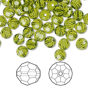 bead, swarovski crystals, crystal passions, olivine, 6mm faceted round (5000). sold per pkg of 144 (1 gross).