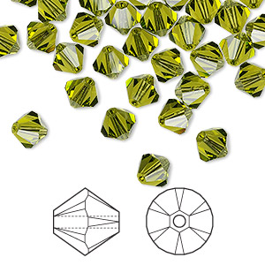 bead, swarovski crystals, crystal passions, olivine, 6mm xilion bicone (5328). sold per pkg of 144 (1 gross).