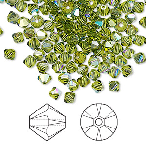 bead, swarovski crystals, crystal passions, olivine ab, 4mm xilion bicone (5328). sold per pkg of 48.