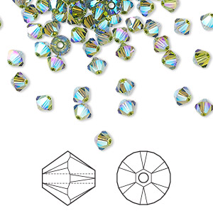 bead, swarovski crystals, crystal passions, olivine ab2x, 4mm xilion bicone (5328). sold per pkg of 144 (1 gross).