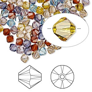bead, swarovski crystals, crystal passions, oregon evening, 4mm xilion bicone (5328). sold per pkg of 48.