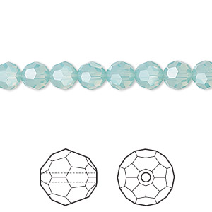 bead, swarovski crystals, crystal passions, pacific opal, 6mm faceted round (5000). sold per pkg of 12.