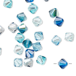 bead, swarovski crystals, crystal passions, pacifica, 6mm xilion bicone (5328). sold per pkg of 24.