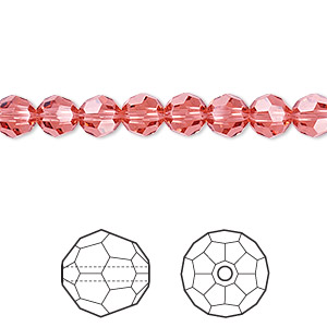bead, swarovski crystals, crystal passions, padparadscha, 6mm faceted round (5000). sold per pkg of 12.