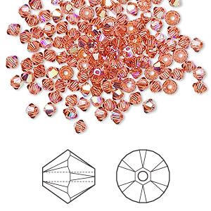 bead, swarovski crystals, crystal passions, padparadscha ab, 3mm xilion bicone (5328). sold per pkg of 144 (1 gross).
