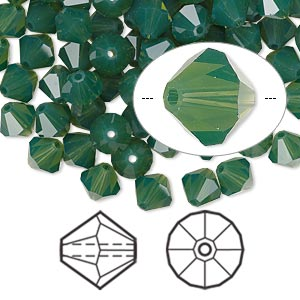 bead, swarovski crystals, crystal passions, palace green opal, 6mm faceted bicone (5301). sold per pkg of 144 (1 gross).