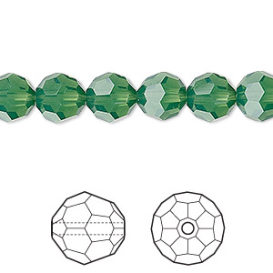 bead, swarovski crystals, crystal passions, palace green opal, 8mm faceted round (5000). sold per pkg of 12.