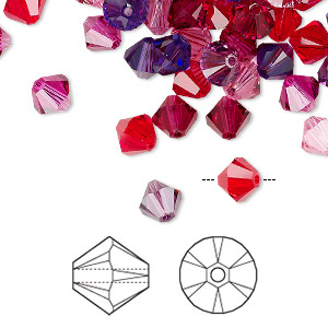 bead, swarovski crystals, crystal passions, passion, 6mm xilion bicone (5328). sold per pkg of 24.