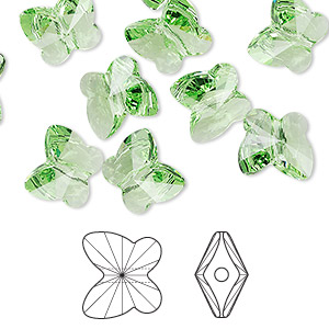 bead, swarovski crystals, crystal passions, peridot, 10x9mm faceted butterfly (5754). sold per pkg of 48.