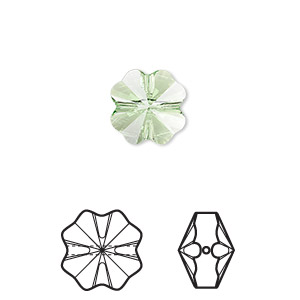 bead, swarovski crystals, crystal passions, peridot, 12x12mm faceted clover (5752). sold per pkg of 96.