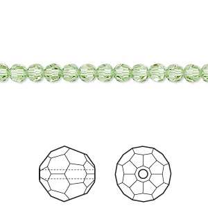 bead, swarovski crystals, crystal passions, peridot, 4mm faceted round (5000). sold per pkg of 12.