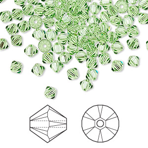 bead, swarovski crystals, crystal passions, peridot, 4mm xilion bicone (5328). sold per pkg of 144 (1 gross).
