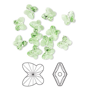 bead, swarovski crystals, crystal passions, peridot, 6x5mm faceted butterfly (5754). sold per pkg of 12.