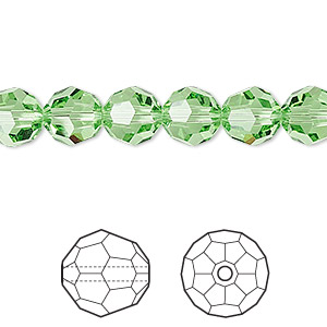 bead, swarovski crystals, crystal passions, peridot, 8mm faceted round (5000). sold per pkg of 12.