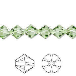 bead, swarovski crystals, crystal passions, peridot, 8mm xilion bicone (5328). sold per pkg of 12.