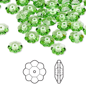 bead, swarovski crystals, crystal passions, peridot, 8x3mm faceted marguerite lochrose flower (3700). sold per pkg of 12.